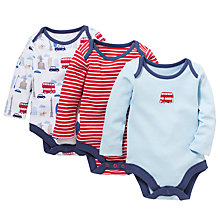 Buy John Lewis Baby London Theme Bodysuits, Pack of 3, Blue/Red Online at johnlewis.com