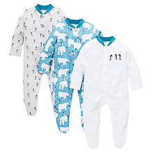 Buy John Lewis Baby Arctic Sleepsuit, Pack of 3, White/Blue Online at johnlewis.com