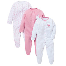 Buy John Lewis Baby Princess Sleepsuit, Pack of 3, Pink/White Online at johnlewis.com