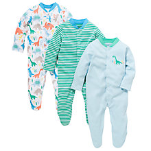 Buy John Lewis Baby Dino Sleepsuit, Pack of 3, Multi Online at johnlewis.com