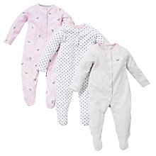Buy John Lewis Baby Scotty Dog Sleepsuits, Pack of 3, White/Pink Online at johnlewis.com