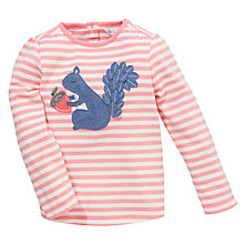 Buy John Lewis Stripe Squirrel Applique T-Shirt, Pink/White Online at johnlewis.com