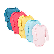 Buy John Lewis Baby Plain Bodysuits, Pack of 5, Multi Online at johnlewis.com