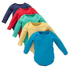 Buy John Lewis Plain Long Sleeve Bright Bodysuits, Pack of 5, Multi Online at johnlewis.com