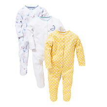 Buy John Lewis Baby Geese & Dot Print Sleepsuits, Pack of 3, Yellow/White Online at johnlewis.com