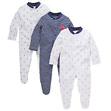 Buy John Lewis Baby Anchor Stripe Sleepsuits, Pack of 3, Navy/White Online at johnlewis.com