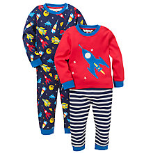 Buy John Lewis Rocket Pyjamas, Pack of 2, Blue/Red Online at johnlewis.com