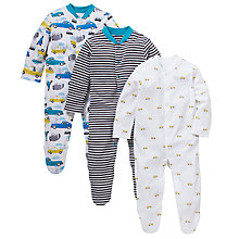 Buy John Lewis Baby Taxi Sleepsuit, Pack of 3, Multi Online at johnlewis.com