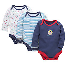 Buy John Lewis Baby Patterned Bodysuits, Pack of 3, Blue Online at johnlewis.com