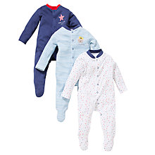 Buy John Lewis Baby Daddy's Little Star Sleepsuits, Pack of 3, Blue Online at johnlewis.com