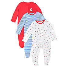Buy John Lewis Bunny & Stripe Print Sleepsuits, Pack of 3, Multi Online at johnlewis.com