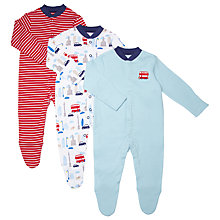Buy John Lewis London Print Sleepsuits, Pack of 3, Multi Online at johnlewis.com