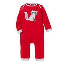 Buy John Lewis Baby Raccoon Applique Romper, Red Online at johnlewis.com