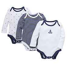 Buy John Lewis Anchor Bodysuit, Pack of 3, White/Navy Online at johnlewis.com