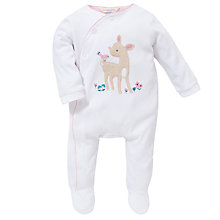 Buy John Lewis Baby Deer Sleepsuit, White Online at johnlewis.com