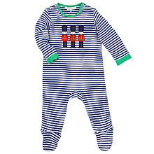 Buy John Lewis Baby Soldier Stripe Sleepsuit, Blue/White Online at johnlewis.com