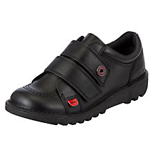 Buy Kickers Low Rip-Tape Strap Shoes, Black Online at johnlewis.com