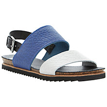 Buy Bertie Jakarta Pebble Grain Leather Strap Sandals, Blue/White Online at johnlewis.com