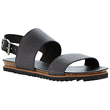 Buy Bertie Jakarta Pebble Grain Leather Strap Sandals, Pewter Online at johnlewis.com