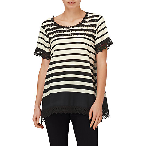 Buy Phase Eight Montpellier Zena Stripe and Crochet Lace Top, Black/Ivory Online at johnlewis.com