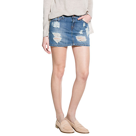 Buy Mango Denim Mini Skirt, Medium Blue Online at johnlewis.com