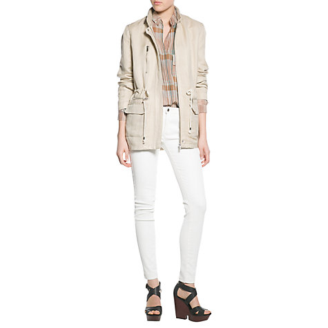 Buy Mango Linen-Blend Parka, Light Beige Online at johnlewis.com