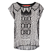 Buy Mango Monochrome Print Blouse, Black Online at johnlewis.com