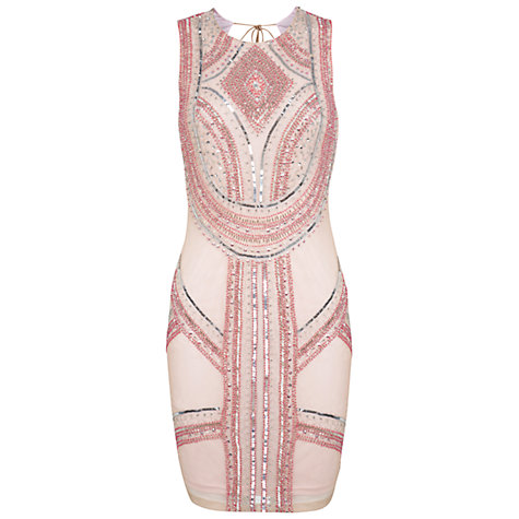 Buy Miss Selfridge Warrior Embellished Bodycon Dress, Pink Online at johnlewis.com