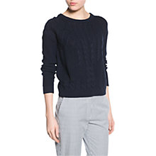 Buy Mango Cable Knit Jumper, Dark Blue Online at johnlewis.com
