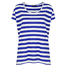 Buy Mango Striped Slub-Cotton T-Shirt, Bright Blue Online at johnlewis.com