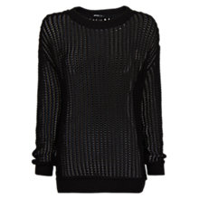 Buy Mango Open Knit Jumper, Black Online at johnlewis.com