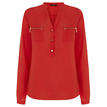 Buy Oasis Zip Pocket Shirt, Coral Online at johnlewis.com