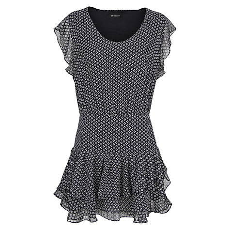 Buy Mango Ruffled Chiffon Dress, Dark Blue Online at johnlewis.com