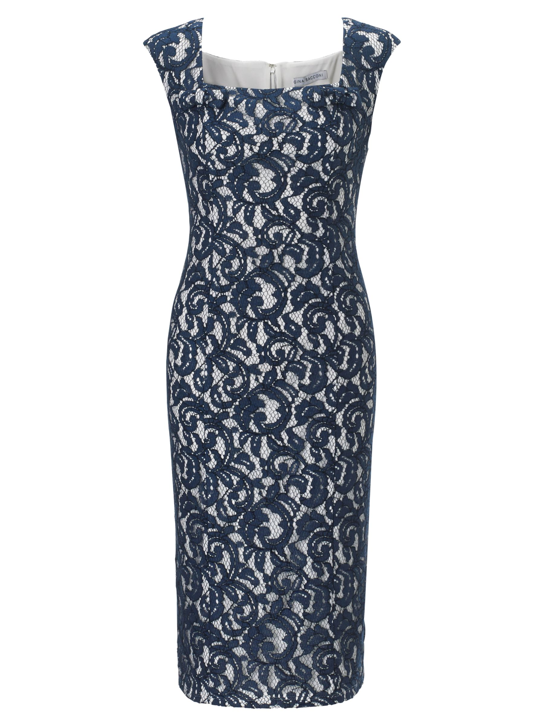 gina bacconi lace jersey bow trim dress navy, gina, bacconi, lace, jersey, bow, trim, dress, navy, gina bacconi, 20|16|22, clearance, womenswear offers, womens dresses offers, women, plus size, womens dresses, special offers, 1173061