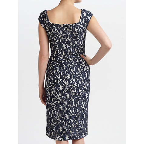 Buy Gina Bacconi Lace Jersey Bow Trim Dress, Navy Online at johnlewis.com