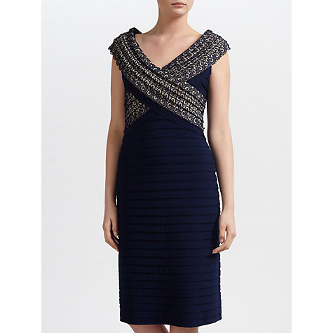 Buy Gina Bacconi Jersey Bandage Lace Dress, Spring Navy Online at johnlewis.com