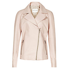 Buy Reiss Leather Biker Fray Jacket, Soft Pink Online at johnlewis.com