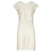 Buy Reiss Lace Detail Ciara Swift Dress, Cream Online at johnlewis.com
