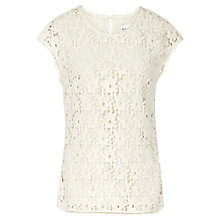 Buy Reiss Lace Fitted Spears Top, Cream Online at johnlewis.com