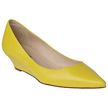 Buy L.K. Bennett Perla Pointed Toe Kitten Wedge Court Shoes, Yellow Online at johnlewis.com