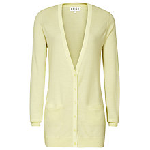 Buy Reiss Contrast Trim Trudy Cardigan, Pale Lemon Online at johnlewis.com