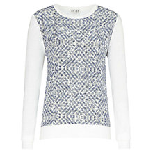 Buy Reiss Silk Front Printed Rover Jumper, Cream/Navy Online at johnlewis.com
