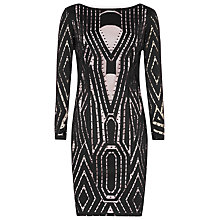 Buy Reiss Graphic Lace Kaz Dress, Black/Neutral Online at johnlewis.com