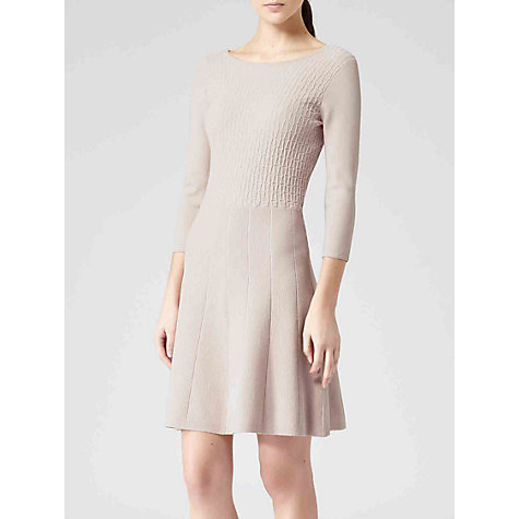 Buy Reiss Fit and Flare Knitted Jambo Dress, Pink Mist Online at johnlewis.com