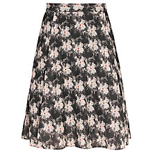 Buy Reiss Floral Print Hemi Skirt, Black Bush Online at johnlewis.com