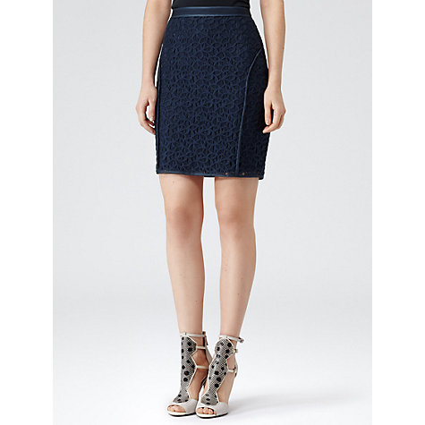 Buy Reiss Brando Fitted Pencil Skirt, Prune Online at johnlewis.com