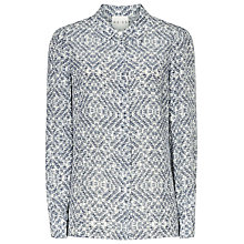 Buy Reiss Cube Print Jean Shirt, Blue Online at johnlewis.com