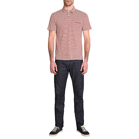 Buy Jigsaw Striped Polo Shirt, Raspberry Online at johnlewis.com