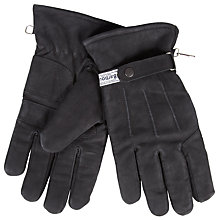 Buy Barbour Thinsulate Leather Gloves, Black Online at johnlewis.com