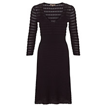 Buy Jigsaw Geo Pointelle 3/4 Sleeve Dress, Black Online at johnlewis.com